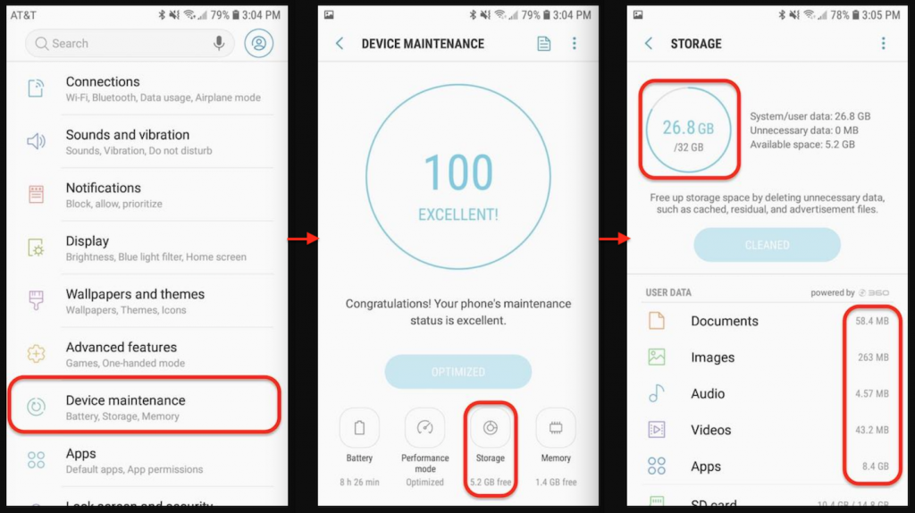 Screenshots to show how to check storage on an Android phone