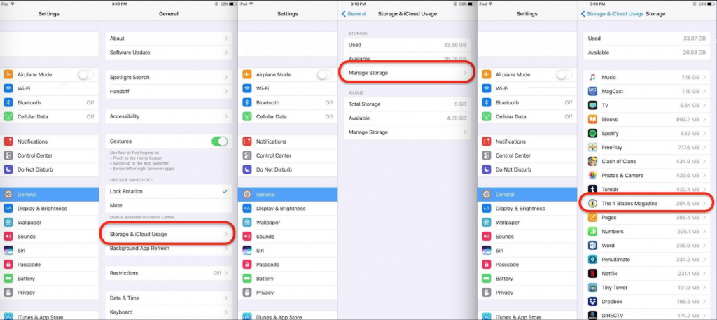 Screenshots to show how to check storage on an Apple device.
